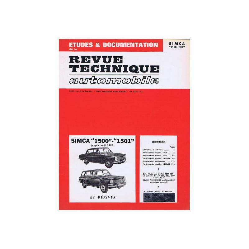 RTA 221/253/269/285 Simca 1500 - 1501 et dérivés -08/1969 Librairie Automobile SPE RTA221